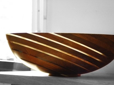 Schaal  | Bubinga - perspex |  diameter 47 cm