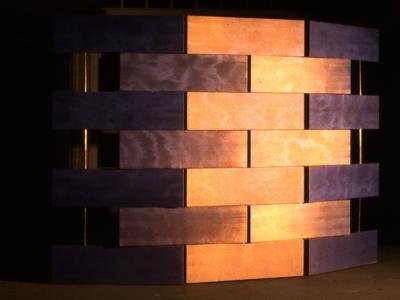Scherm -2 | hout, changeant | ruimtedeler | maat hier 210 x 300 cm maar variabel in hoogte en breedte