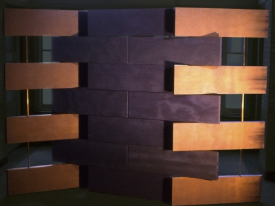 Scherm -3 | hout, changeant | ruimtedeler | maat hier 210 x 300 cm maar variabel in hoogte en breedte