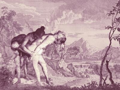 Pietà in 'Het heuvelachtig landschap met waterval' van Johannes Glaubner ca. 1700 | print op ultradof Hahnemullerpapier | 60 x 84 cm | 8 stuks